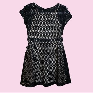 4/$20 Ally B Black Lace Overlay Short Sleeve Dress